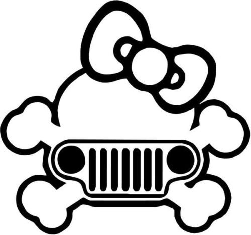 Cute Girl Bow Tie Skull Jeep Vinyl Graphic Car Truck Windows Decor Decal Sticker - Die cut vinyl decal for windows, cars, trucks, tool boxes, laptops, MacBook - virtually any hard, smooth surface