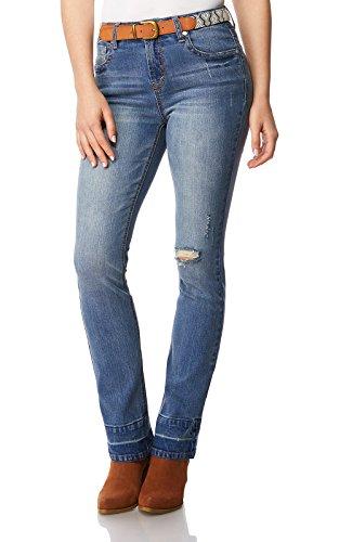 WallFlower Women's Juniors Two Side-Belted High Waist Bootcut Jeans in Tessa, 3 by WallFlower