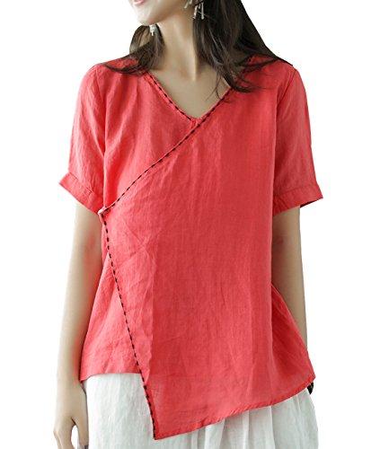 YESNO Women Casual V Neck Short Sleeve Summer Tops Retro Elegant Linen Blouse Stitching Embroidery Asymmetric Hem EB0