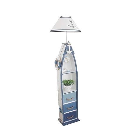 Floor Lamp, Lámpara de pie con estante, estilo mediterráneo ...