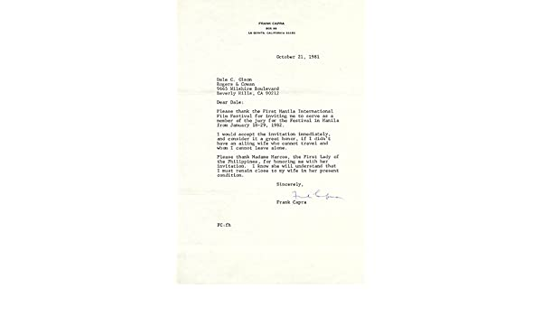 Frank Capra Typed Letter Signed 10 21 1981 At Amazon S
