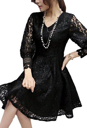 ボランティアマネージャー見つけたドレス ワンピース 総レース 長袖 袖デザイン Aライン ひざ丈 シースルー レディース (M, ブラック)