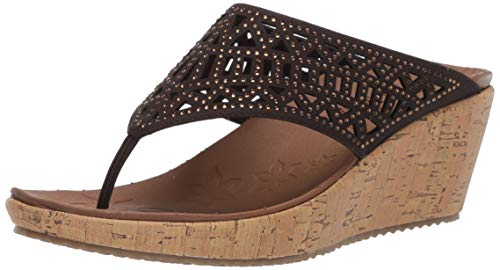Brown Heeled Chocolate - Skechers Women's Beverlee-Summer Visit-Hooded Rhinestone Laser Cut Wedge Thong Sandal, Chocolate, 11 M US