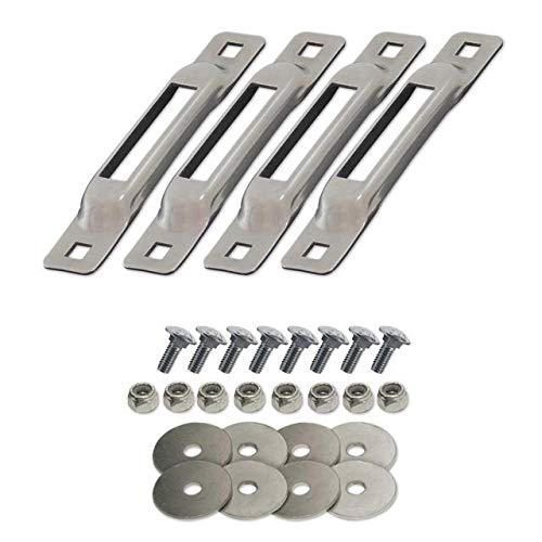 Snaplocs Stainless 4 Pack With Carriage Bolts E-Track Single Strap Anchors SLSS4FC