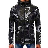 Men's Camouflage Hooded Zipper Long Sleeve Sweater Top Sweatshirt Tops Blouse (M, Black)