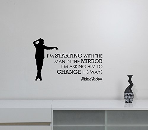 I'm Starting With The Man Quote Wall Decal Inspirational Saying Sticker Vinyl Lettering King of Pop Dancer Silhouette Motivational Words Art Inspire Decorations for Home Room Bedroom Musical Decor jq1