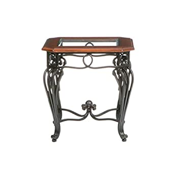 Southern Enterprises Prentice Side End Table, Dark Cherry with Black Finish