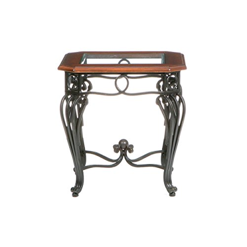 Prentice Side End Table - Elegant Iron Wrought Scrollwork - Dark Cherry w/ Black Finish (Wrought Iron Coffee Table With Wood Top)