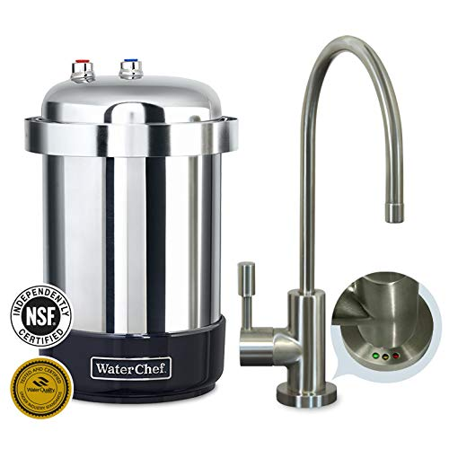 - WaterChef® U9000 Premium Under-Sink Water Filtration System (Brushed Nickel Faucet)