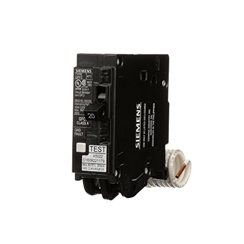 Siemens QF120A Ground Fault Circuit Interrupter, 20 Amp, 1 Pole, 120V, 10,000 ()