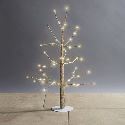 Pre-lit Gold Glitter Mini Tree with 60 Warm White Sparkling LEDs | 18 inches, Indoor Use, Plugin, Decorative Christmas Light, UL Listed