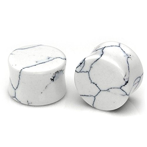 HQLA 1 Pair White Howlite Organic Natural Stone Double Flared Flesh Tunnels Ear Plugs Gauges Stretcher Expander (00g(10mm)) (Turquoise Flared Plugs)