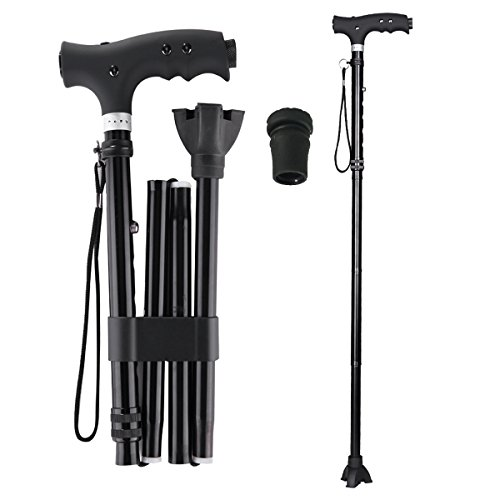 Folding Cane with LED Flashlight, Ranger5 Collapsible Adjustable Walking Stick for Men & Women with 1 Replacement Cane Tip, Black ()