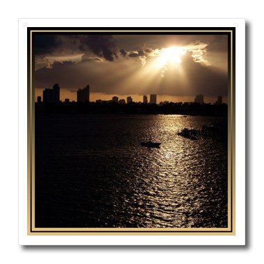 3dRose ht_20488_1 Miami at Sunset Sunset Summer Evening Photograph of City of Miami FL Iron on Heat Transfer for White Material, 8 by -