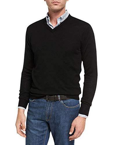 Mens V-neck Silk Sweater - Peter Millar Crown Soft Merino-Silk V-Neck Sweater, Black, M