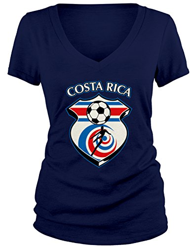 - Amdesco Junior's Costa Rica Soccer, Costa Rican Football V-Neck T-Shirt, Navy Blue Medium