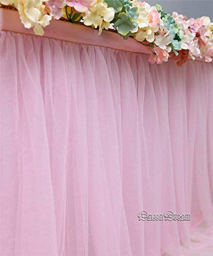 QueenDream Pink Fluffy Table Skirt Tulle Tutu Table Skirt for Rectangle Table for Girl's Birthday Party Baby Shower and Home Decor (L9(ft) H 30in) by QueenDream (Image #6)