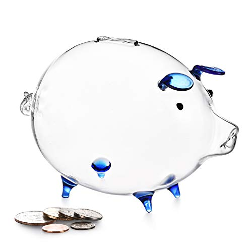 Erreloda Piggy Bank Transparent Creative Glass Coin Bank Small Glass Piggy Bank Money for Children Boys and Girls Birthday Gifts Home Decorative Gift Box Blue -