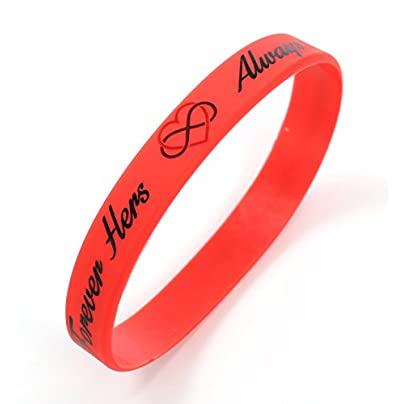 Komonee Always and Forever Hers Red Valentines Day Silicone Wristbands Pack Estimated Price £4.99 -