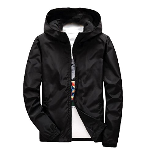 Casual Jacket Outwear Outwear Cozy Sweatshirt Black Bomber Hood Doufine Mens qFYnwxSgT