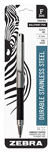 Zebra F-301 Compact Ballpoint Stainless Steel Capped Pen, Fine Point, 0.7mm, Black Ink, 1-Count
