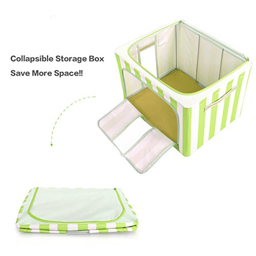 VBTidy 66L Foldable Storage Box, Oxford Fabric Double Zipper Organizer with Clear Window for Under Bed Storage, Closet,Linens, Bedding Blanket, Sheets Pillows, Quilt (2 Pack,Green) by VBTidy (Image #2)