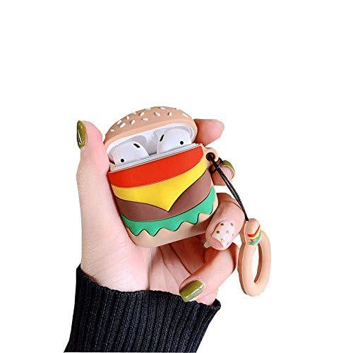 BONTOUJOUR AirPods Case, Creative Fun Food Potato Chips Hamburger Popcorn Shape Matte Surface TPU Silicone Cover Protective Skin for Apple AirPods+Lanyard-Hamburger