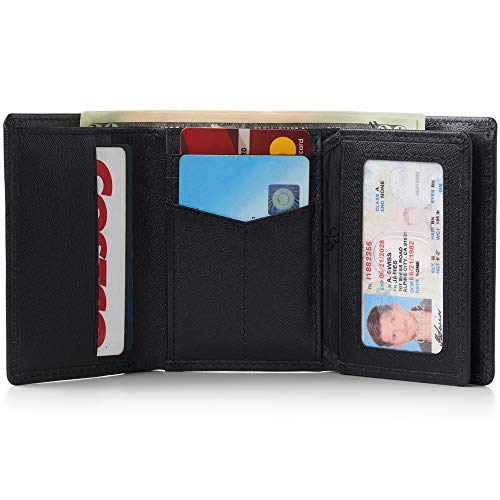 (Alpine Swiss RFID Mens Wallet Deluxe Capacity Trifold With Divided Bill Section Crosshatch Black)
