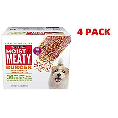 Purina Moist & Meaty Dry Dog Food, Burger with Cheddar Cheese Flavor - 36 ct. Pouch (36 ct. Pouch Pack of 4)