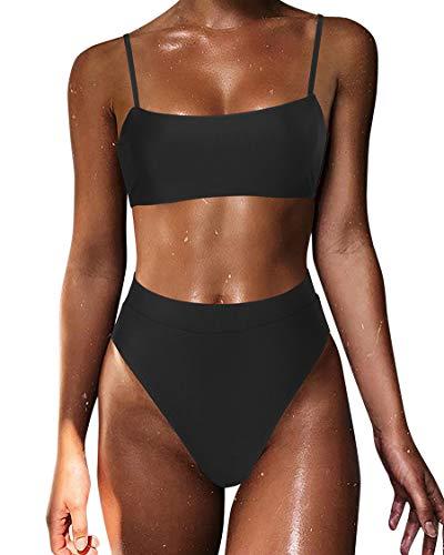 MOSHENGQI Sexy Push up Bikini Sets High Waist Swimsuits for Women Spaghetti Straps (Small, Black)