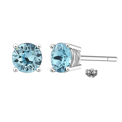 Swarovski Earrings, GLIMMERING March Birthstone Aquamarine Color Swarovski Stud Earrings for Women and Girls, Swarovski Stud Earrings with Certificate and Warranty, Hypoallergenic Earrings