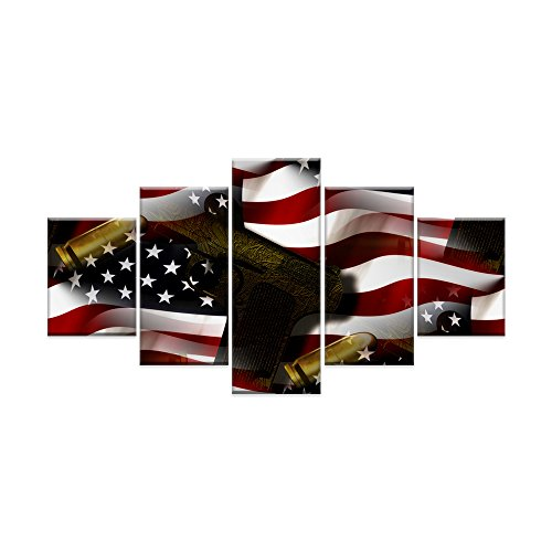 American Flag USA Canvas Print Black White Venetian Red Wall Art Painting 5 Panel Guns and Bullets Posters and Prints Pictures for Bedroom Home Decor Gallery Framed Ready to Hang (60''W x 32''H) - Venetian Wall Art