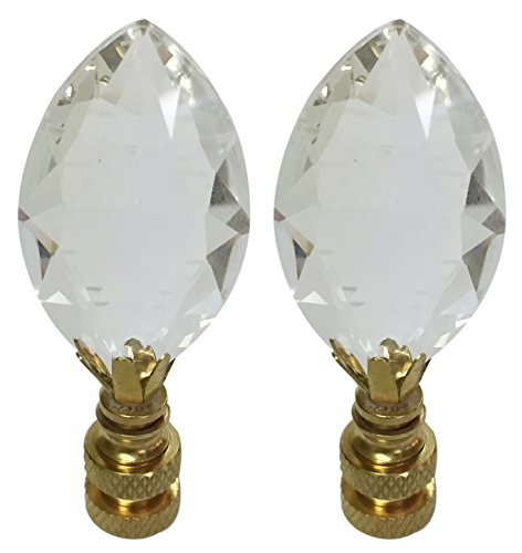 (Royal Designs CCF2010-PB-2 Pear Shaped Clear K9 Crystal Finial for Lamp Shade with Polished Brass Base Set of 2, 2)