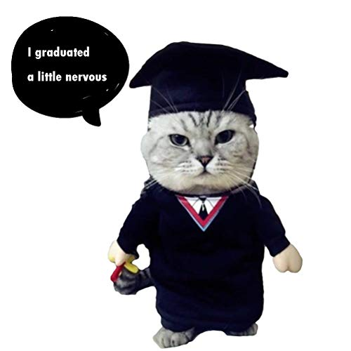 NACOCO Cat Academic Dress Pet Baccalaureate Gown Small Dog Funny Costume Suit for Christmas Halloween (M) ()