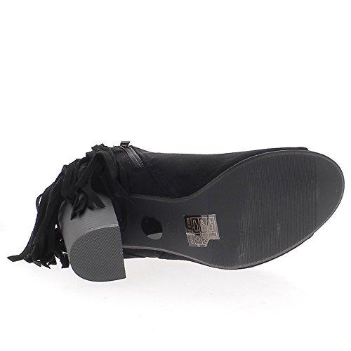 Negro botas de tacón de aspecto abierto con flecos gruesos 9cm ante