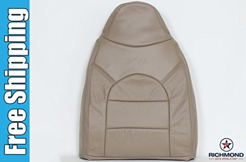 2000 Ford F-350 Lariat Quad-Cab Driver Side Lean Back Replacement Leather Seat Cover w/ Lariat Logo, Tan