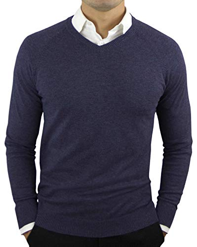 Comfortably Collared Men's Perfect Slim Fit Lightweight Soft Fitted V-Neck Pullover Sweater, Large, Navy Blue ()