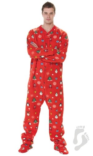 amazoncom footed pajamas holly jolly christmas adult fleece clothing