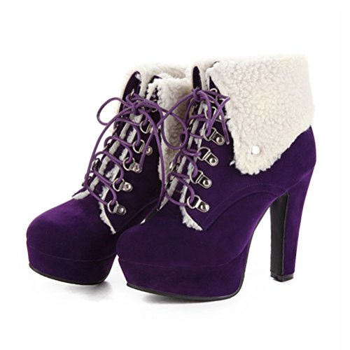 Agodor Womens Platform High Heels Lace up Ankle Boots With Faux Fur Nubuck Leather Chunky Heel Winter Shoes Purple XMXpOg