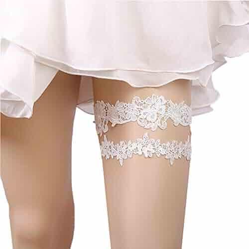 2f9d554c9fa Kalolary Wedding Bridal Garter Belt Ruffled Organza with Satin Bow Heart  Charm Elastic Garter Belt