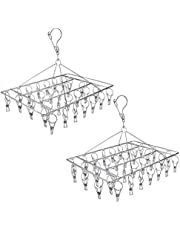 Tosnail 2 Pack Stainless Steel Clip and Drip Hangers Clothes Drying Rack Laundry Accessories - Total 66 Clips