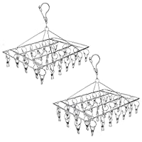 Tosnail 2 Pack Stainless Steel Clip and Drip Hangers Clothes Drying Rack Laundry Accessories – Total 66 Clips