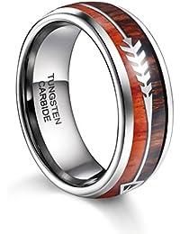 Mens Tungsten Ring Koa Wood Arrows Inlay Wedding Band 8mm