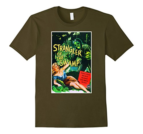 Swamp Creature Costumes (Mens Strangler Swamp Creature Halloween T-Shirt Horror Tee Shirt Small Olive)