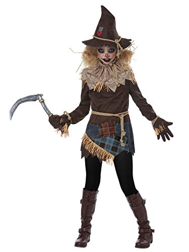 Creepy Scarecrow Girls Costume Brown -