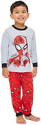 Jellifish Kids Boys 2 Piece Pajama Sleep Set, Cuffed Pant, All Over Print, Cotton, Spider-Man