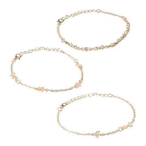(NIHAI 3pcs Women Bangle Bracelet, Star Bangle Platinum Plated Hand Jewelry White Zircon Copper Bracelet for Family Friend Gift )