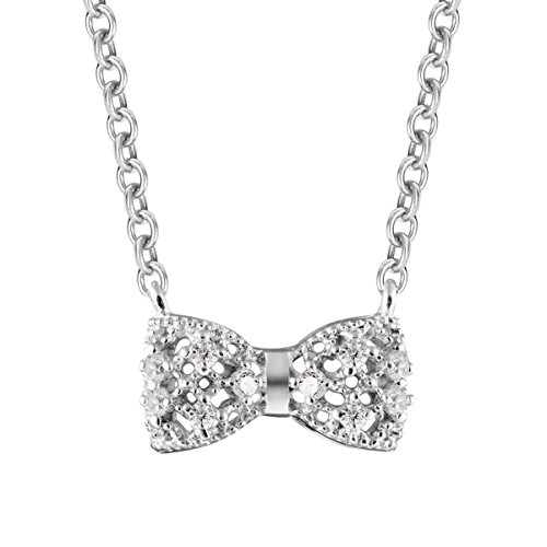 Carleen Bow tie Sterling Silver Zircon Pendant Necklaces for ()