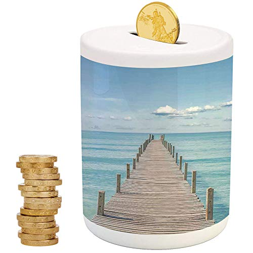(Art,Ceramic Coin Bank,Christmas Birthday Gifts for Kids Boys Girls Home Decoration,Wood Pier Deck in Asian River with Sky and Sun Summer Travel Theme Art Print)