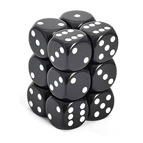 (Chessex Dice Set 12 D6 16Mm Dice Black with White (12), One Size)